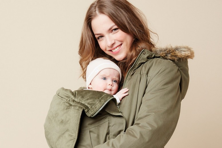 manteau femme porte bebe,En laine et 脿 capuche,