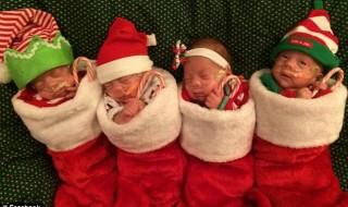 Ces quadruplés prématurés se préparent pour Noël