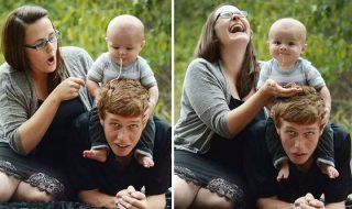 Trop drôle quand bébé fait des siennes lors d'une séance photo familiale !