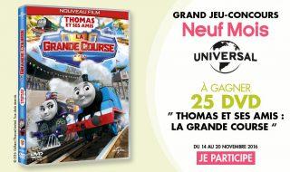 25 DVD «Thomas et ses amis : la grande course» à gagner sur Neuf Mois pour vos loulous !