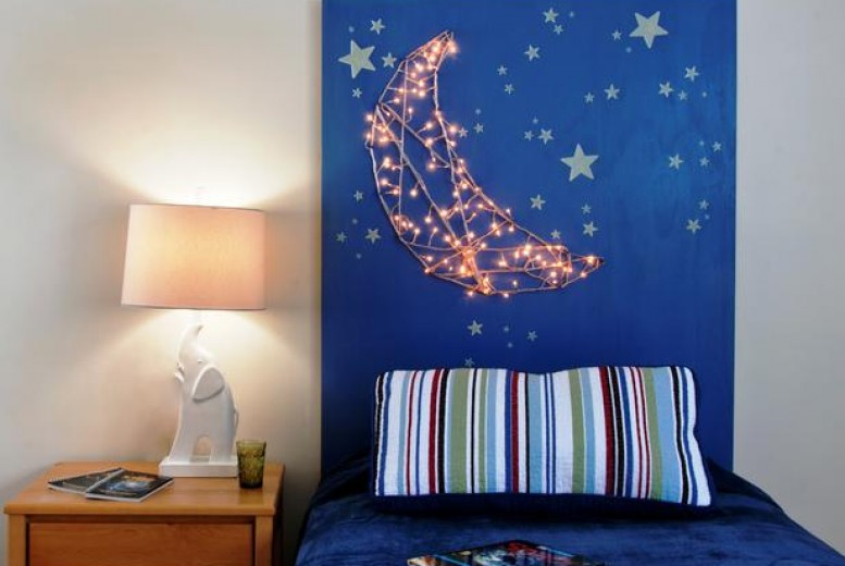 diy une jolie lune lumineuse pour clairer une t te de lit. Black Bedroom Furniture Sets. Home Design Ideas