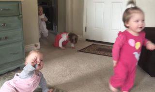Dans cette vidéo hilarante, ces petites quadruplées nous font un remake du tube Thriller de Michael Jackson !