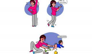 Changer la couche de bébé c'est du sport, la preuve !
