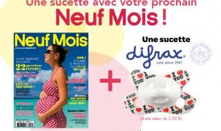 Une sucette Difrax avec votre magazine Neuf Mois n°153 en kiosque dès le 3 juin !