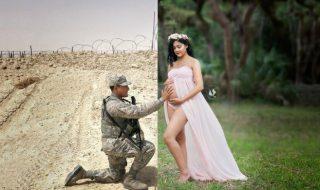 Grâce à ce magnifique montage, ce soldat a pu participer au shooting photo de grossesse de sa femme