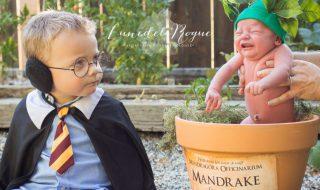 Fans d'Harry Potter, ils transforment bébé en mandragore le temps d'une séance photo rigolote