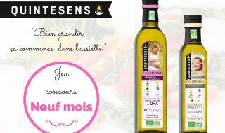 Jeu-concours Quintesens/Neuf Mois : 30 huiles bio pour future maman et bébé» à gagner !